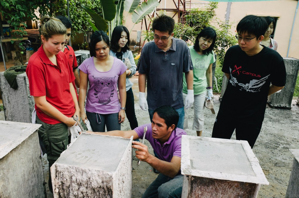 Volunteer in Asia Cambodia Siem Reap Water for Life Cement