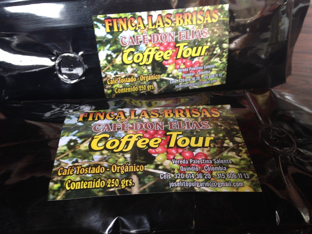 The coffee we bought from Finca Don Elias Las Brisas Cafe during our coffee tour in Salento