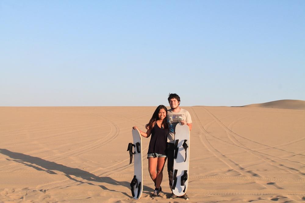 Dune Buggy Ride Sandboarding Huacachina Desert Oasis Peru - Tourists