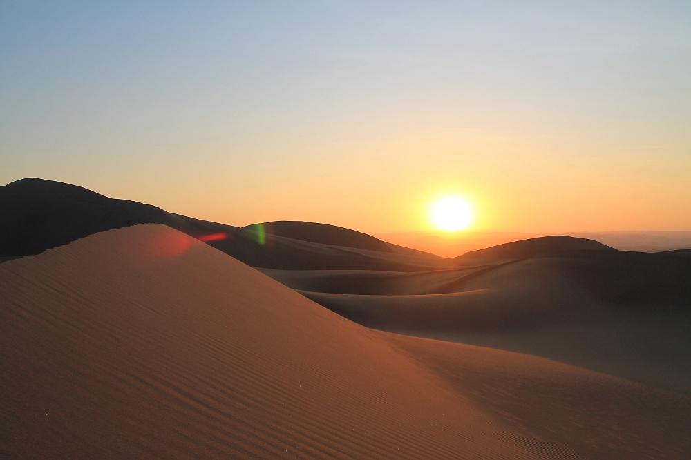 Dune Buggy Ride Sandboarding Huacachina Desert Oasis Peru - Sunset