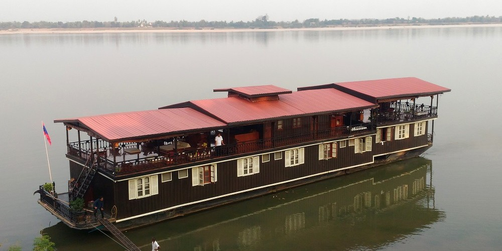 The Vat Phou Cruise Floating Hotel on the Mekong River in Laos