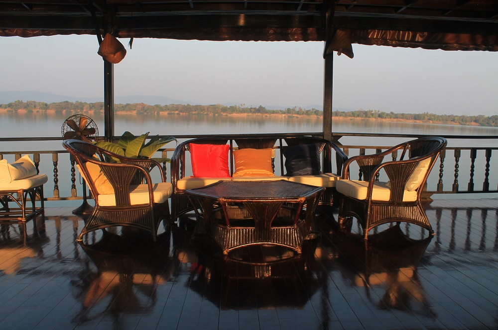 The Vat Phou Cruise Floating Hotel on the Mekong River in Laos - Upper Deck Seating Areas