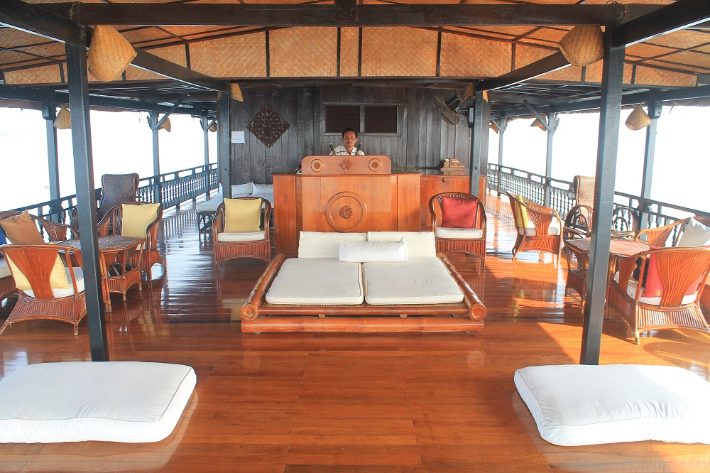 The Vat Phou Cruise Floating Hotel on the Mekong River in Laos - Upper Deck
