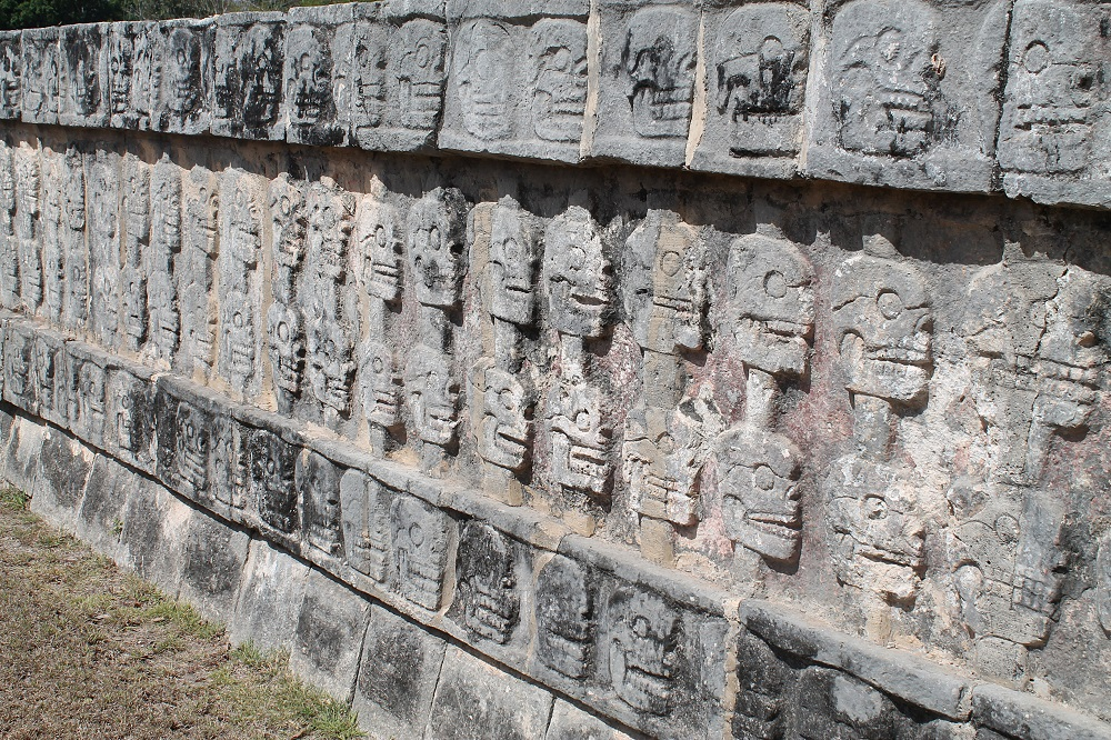 Wonder of the World Chichen Itza Surrounding Structures Skulls