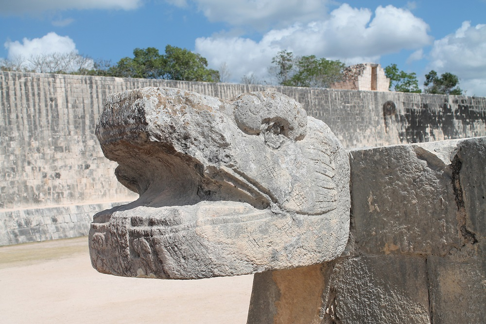 Wonder of the World Chichen Itza Surrounding Structures Snake Head