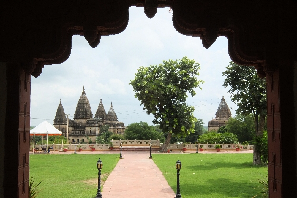 Chhatris of Orccha as seen from the Amar Mahal Hotel - Amar Mahal Hotel in Orchha