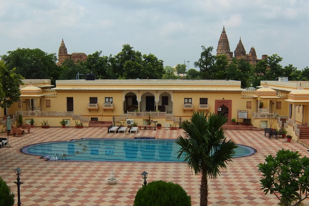 Temples as seen from the Swimming Pool Area of Amar Mahal Hotel in Orchha