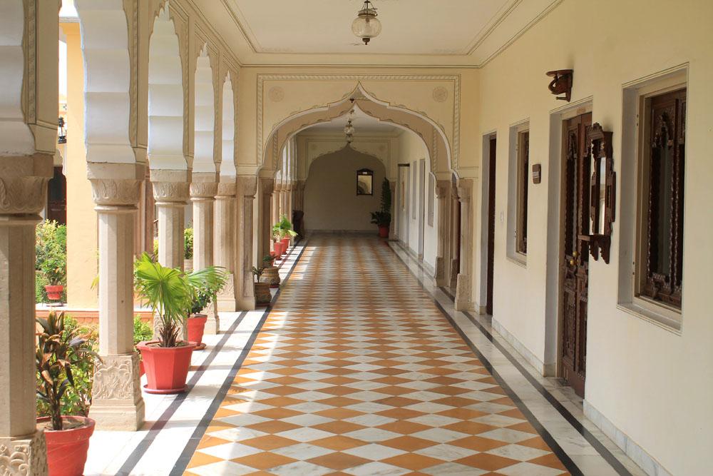 Hallway at Amar Mahal Hotel in Orchha India