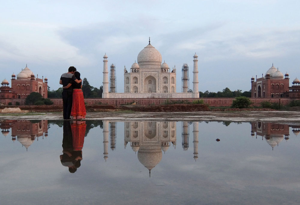 Just before sunset, we had the chance to take this incredible reflection photos with the Taj Mahal