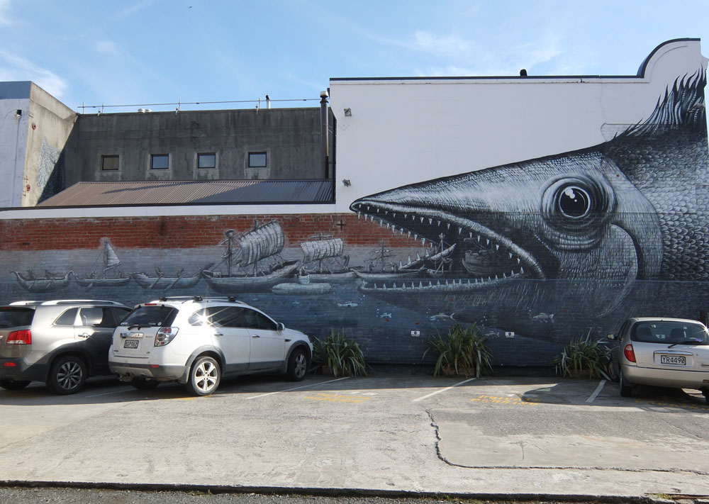 Dunedin Street Art Trail - New Zealand - Phlegm - Fish