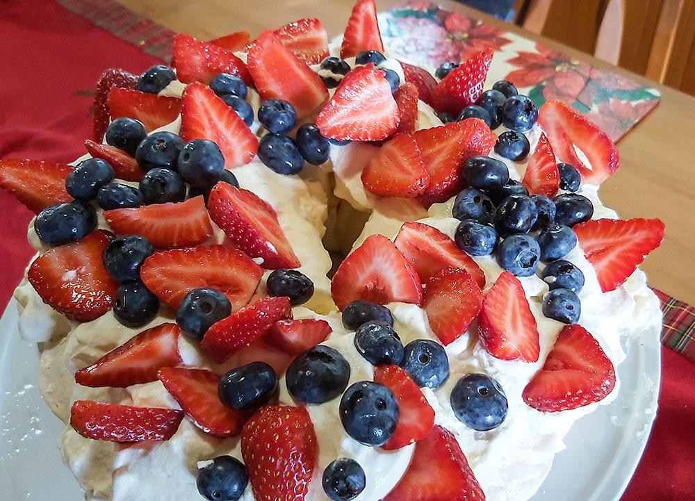 New Zealand Kiwi Christmas Pavlova with Berries and Cream